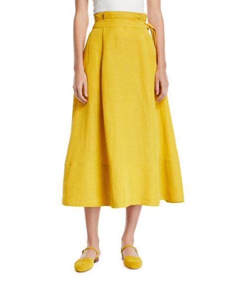 Co Paperbag-Waist Midi Skirt