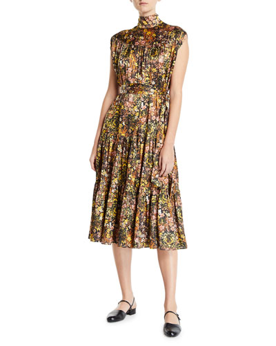 Sleeveless Mock-Neck Floral Silk Dress