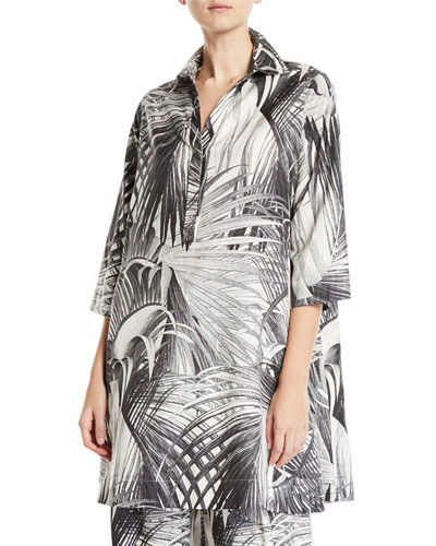 Long-Sleeve Palm Print Tunic