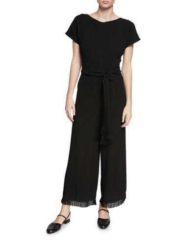 Wide-Leg Short-Sleeve Fringe-Cuff Jumpsuit