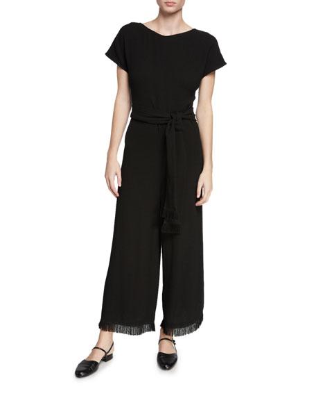 Wide-Leg Short-Sleeve Fringe-Cuff Jumpsuit