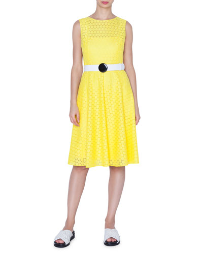 Hexagonal Lace A-line Dress w/ Belt