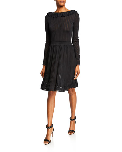 Ruffle-Trim Long-Sleeve Jersey Dress