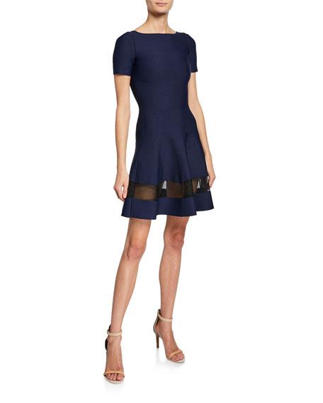 Alaïa SHEER-PANEL FIT-&-FLARE DRESS