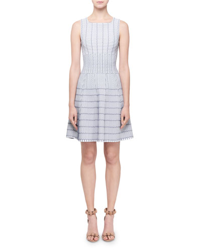 Pagode Grid-Print Square-Neck Dress