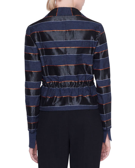 Striped Drawstring Two-Button Blazer