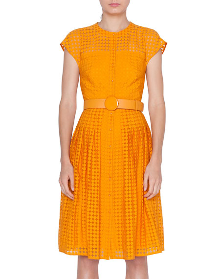 Akris punto Belted Dotted Lace Illusion Dress