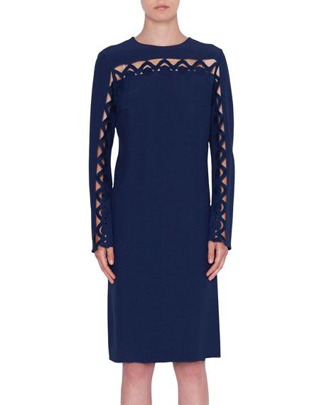 Scalloped-Wave Inset Long-Sleeve Dress