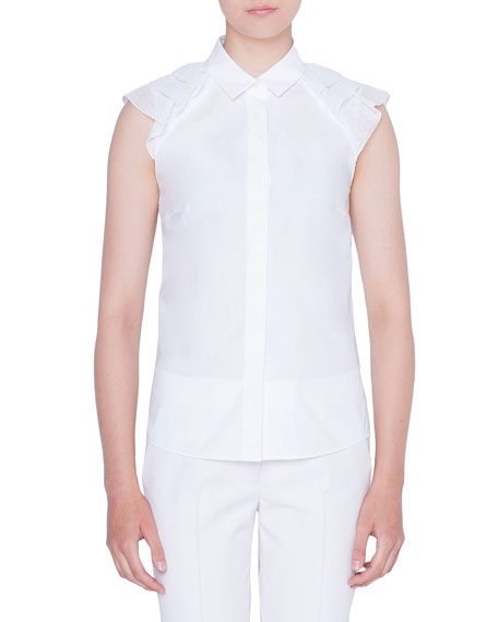 Akris punto Waved-Shoulder Button-Front Fil Coupe Blouse