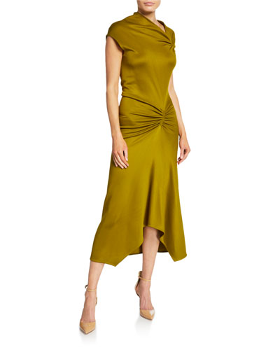 Ruched Jersey Cap-Sleeve Midi Dress