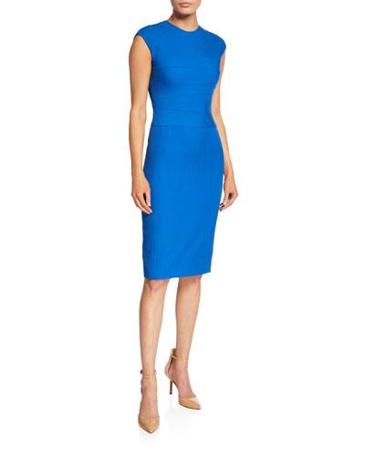 Wool Twill Wave-Stitch Cap-Sleeve Dress