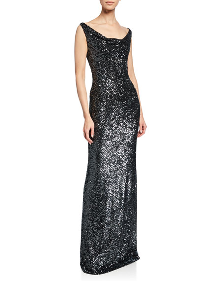 742e2b75436e4 Naeem Khan Sequin Cowl-Neck Gown
