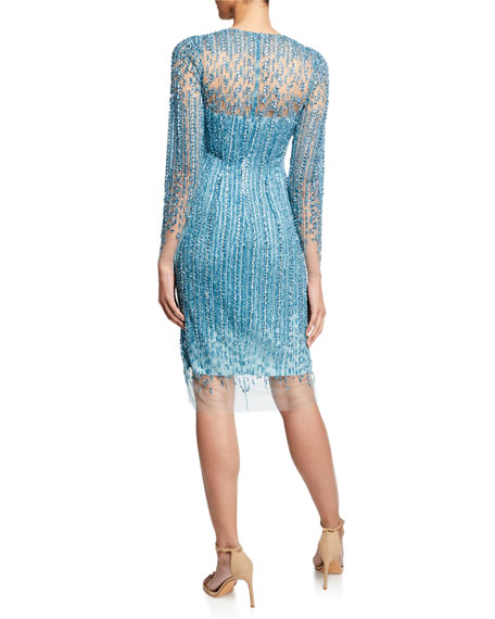 Crystal & Sequin Embroidered Illusion Dress