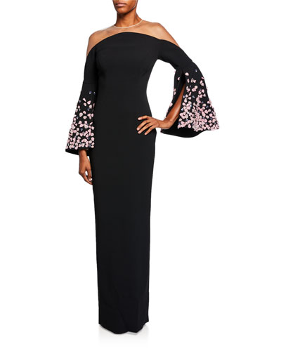 Stretch Crepe Column Gown w/ Petal Bell Sleeves