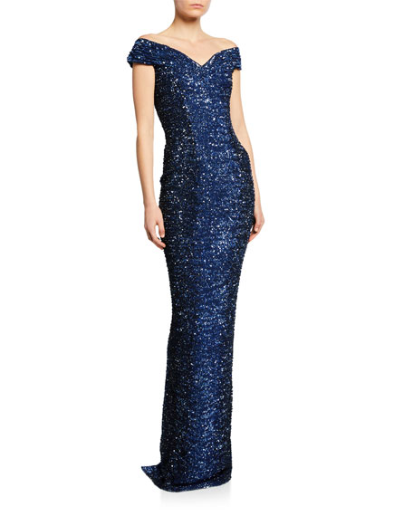 Pamella Roland Off-The-Shoulder Sequined Column Gown