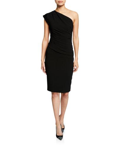 One-Shoulder Moss-Crepe Ruched-Waist Dress