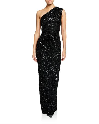 One-Shoulder Hand-Embellished Column Dress