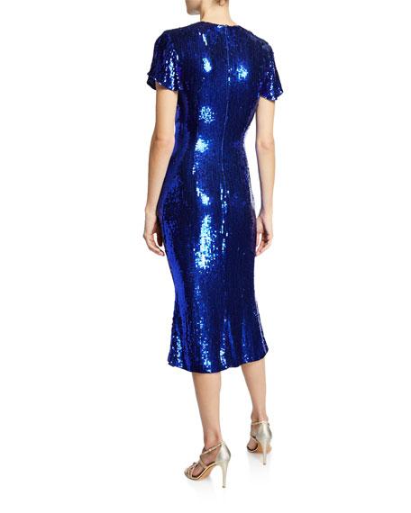 Sequined Crinkle Georgette Midi Dress