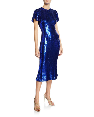 Sequined Crinkle Georgette Midi Dress