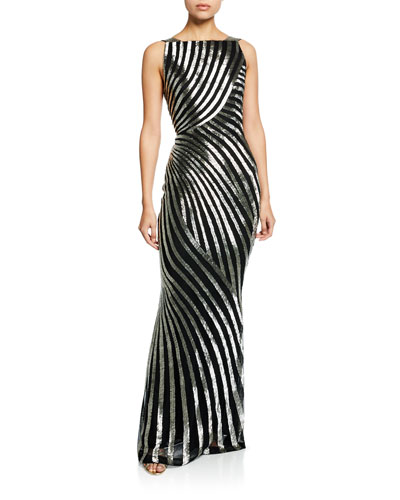 Hand-Embellished Striped Column Gown