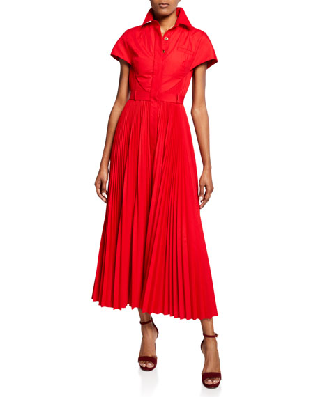 Brandon Maxwell Short-Sleeve Button-Front Poplin Shirtdress
