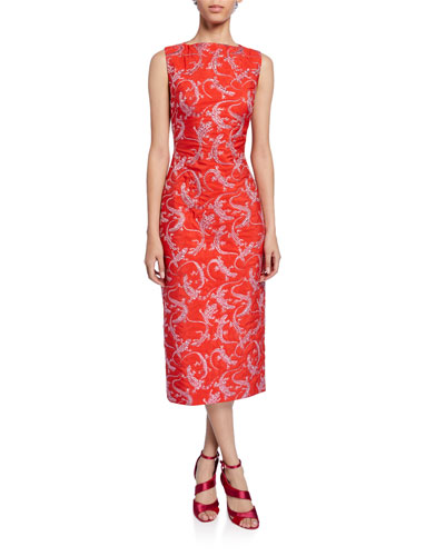 Sleeveless Lizard Jacquard Dress