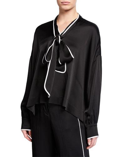 Tie-Neck Long-Sleeve Satin Blouse