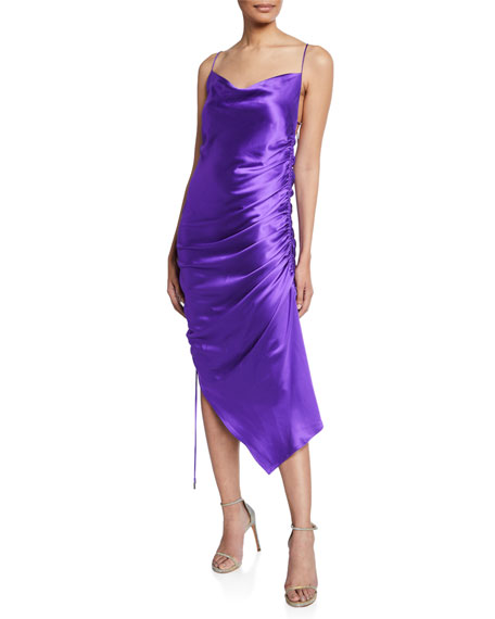 Galvan Yasmine Ruched Satin Open-Back Cocktail Dress