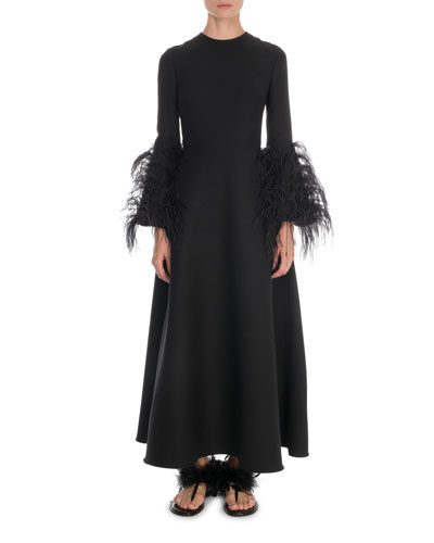 Ostrich Feather-Cuff Long-Sleeve Gown