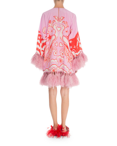 Long-Sleeve Crepe De Chine Feather-Cuff Dress