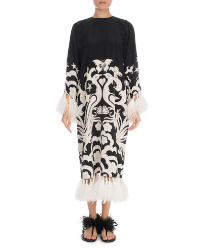 Fenice Long-Sleeve Crepe de Chine Feather Trim Dress