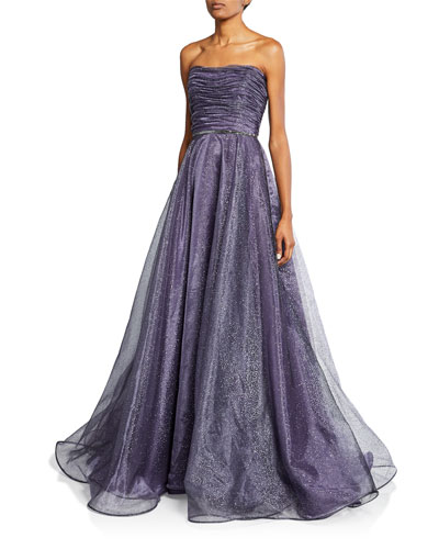 Strapless Sequined Silk Gown