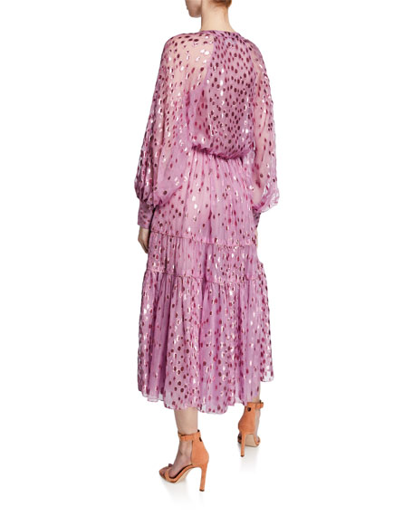 Deep-V Dotted Midi Dress