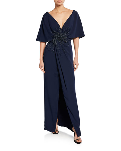 98a0edcfc24 Embroidered-Front Half-Cape Gown