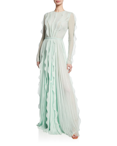 Long-Sleeve Ruffled & Pleated Gown