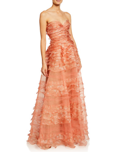 Strapless Ruffle-Tiered Organza Gown