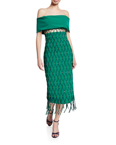 be957d2ae0 Off-The-Shoulder Netted Jersey Cocktail Dress Quick Look. CUSHNIE