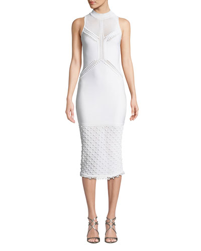 Pompom-Trim Sleeveless Knit Pencil Dress