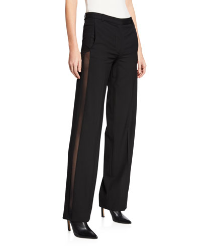 Sheer-Striped Tailored Trousers