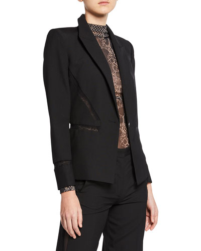 Lace-Trim Tailored Wool Blazer
