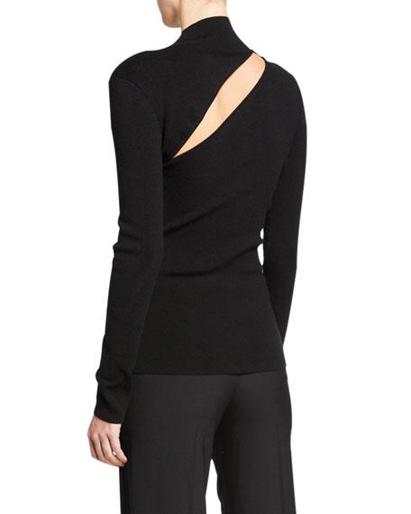 Slashed Mock-Neck Sweater