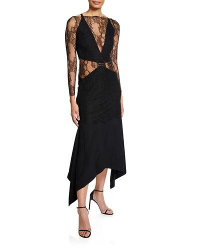 Long-Sleeve Asymmetric Lace Illusion Dress