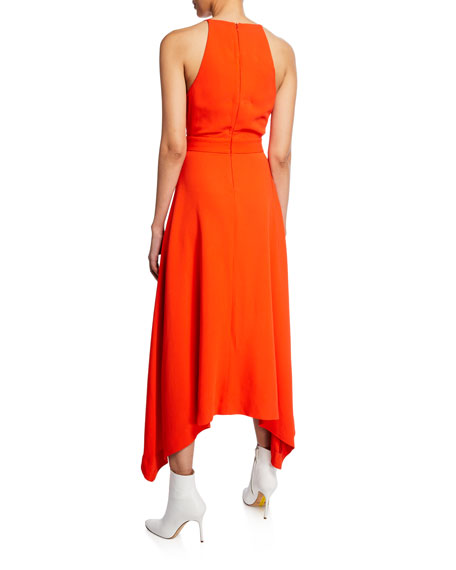DION LEE Midi dresses ASYMMETRIC V-NECK MIDI DRESS