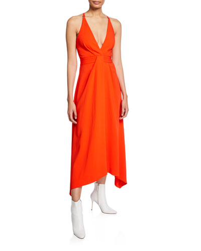 f933b691985 Asymmetric V-Neck Midi Dress Quick Look. Dion Lee