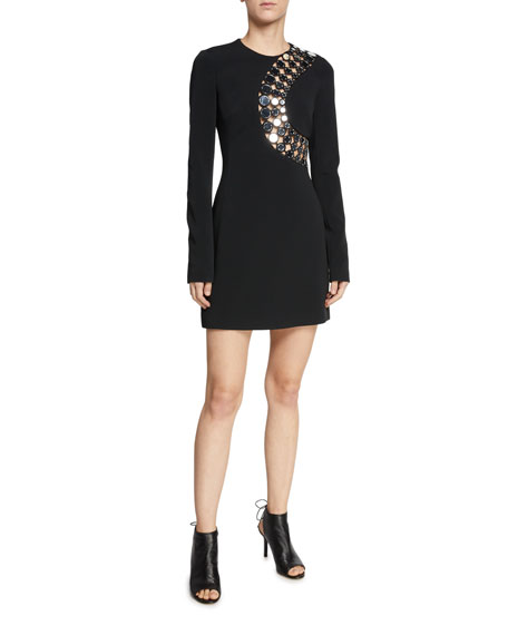 David Koma Long-Sleeve Hardware-Trim Lasercut Mini Dress