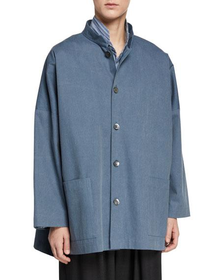 Eskandar Mandarin-Collar High-Low Top