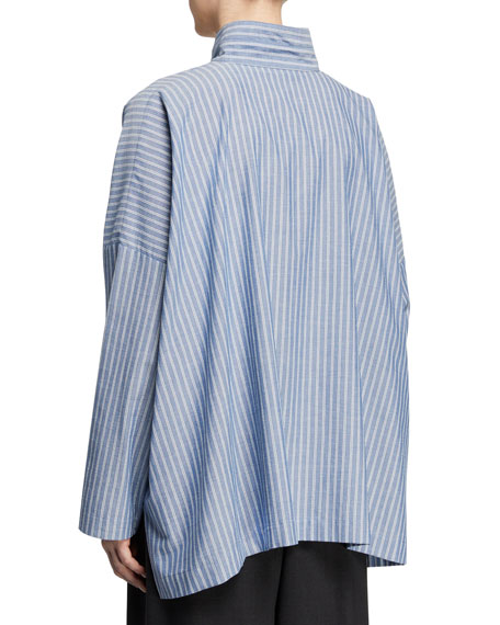 Pinstriped Stand-Collar Button-Front High-Low Top