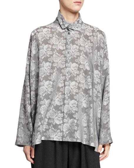 Eskandar Floral-Print Button-Front Blouse