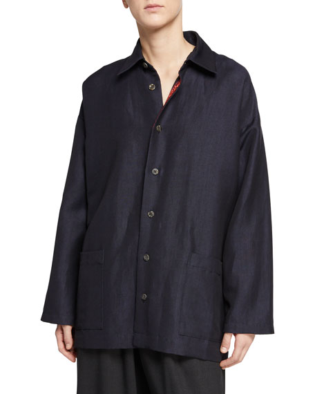 Eskandar Slim A-Line Button-Front Shirt Jacket