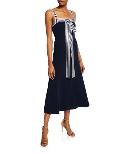 Striped-Trim Tie-Front Dress